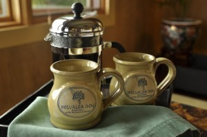 Freshly brewed coffee in Holualoa Inn mugs