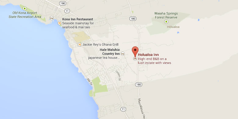 Map of the location of the Big Island Hawaii Bed and Breakfast