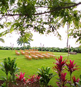 A view of an outdoor wedding venue