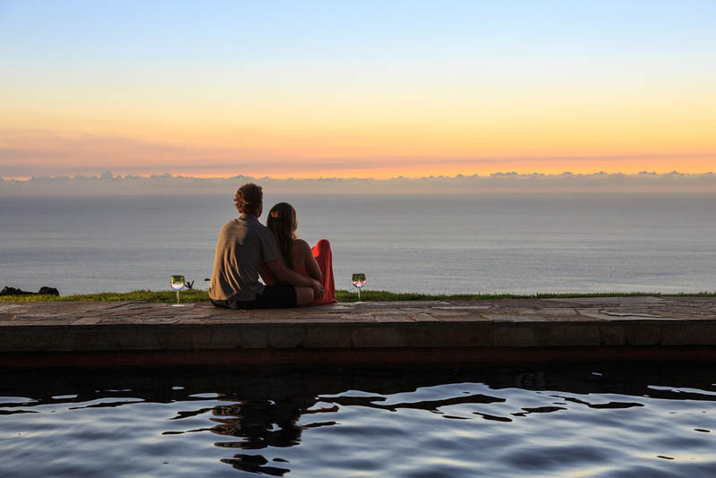 Couple enjoying the view during a staycation on the Big Island of Hawaii