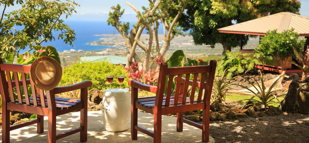 Coffee Cherry Room outdoor seating with ocean view