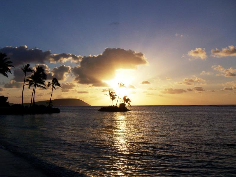 Sunset in Hawaii in Winter