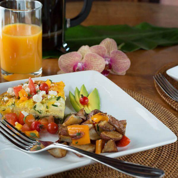 Breakfast Quiche with potatoes at accommodations near Kona Hawaii