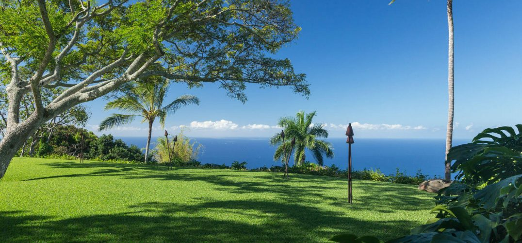 Great Lawn at Holualoa Inn Kona coffee farm and Big Island wedding venue