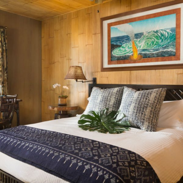 Bed in the Plumeria Suite at our Big Island B&B