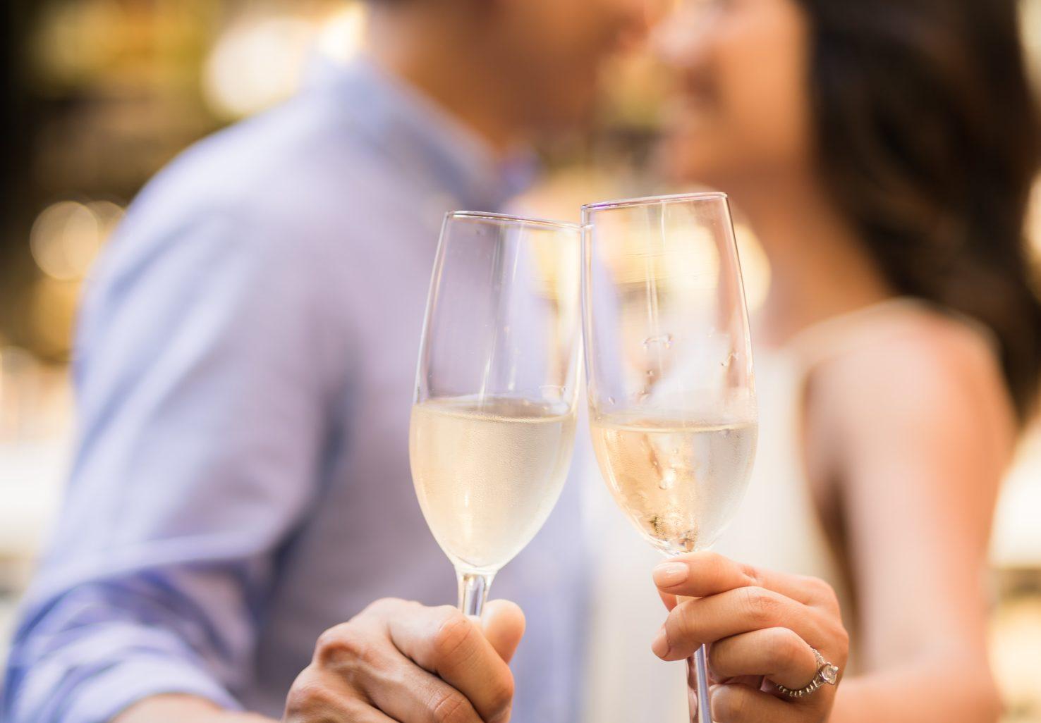couple champagne cheers