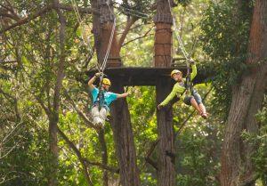 Couple on a Zip Line enjoying their Hawaii honeymoon