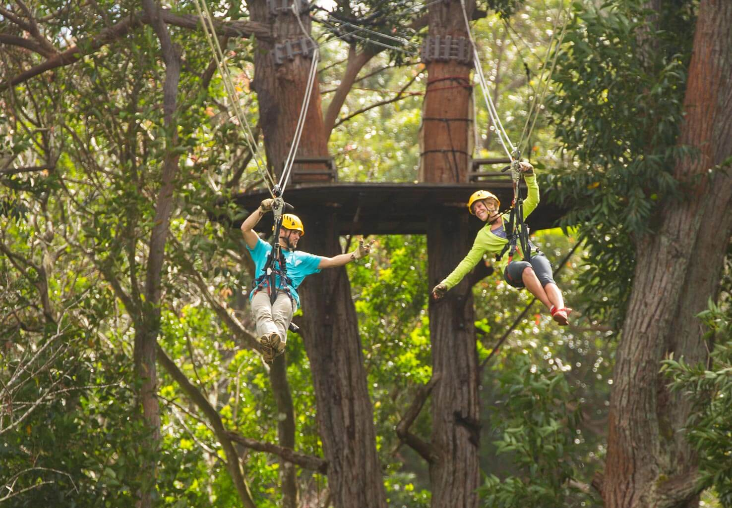 Couple on a Zip Line