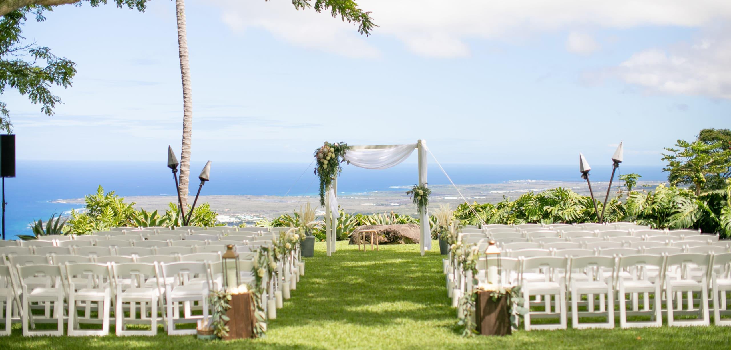 wedding aisle set up in Hawaii