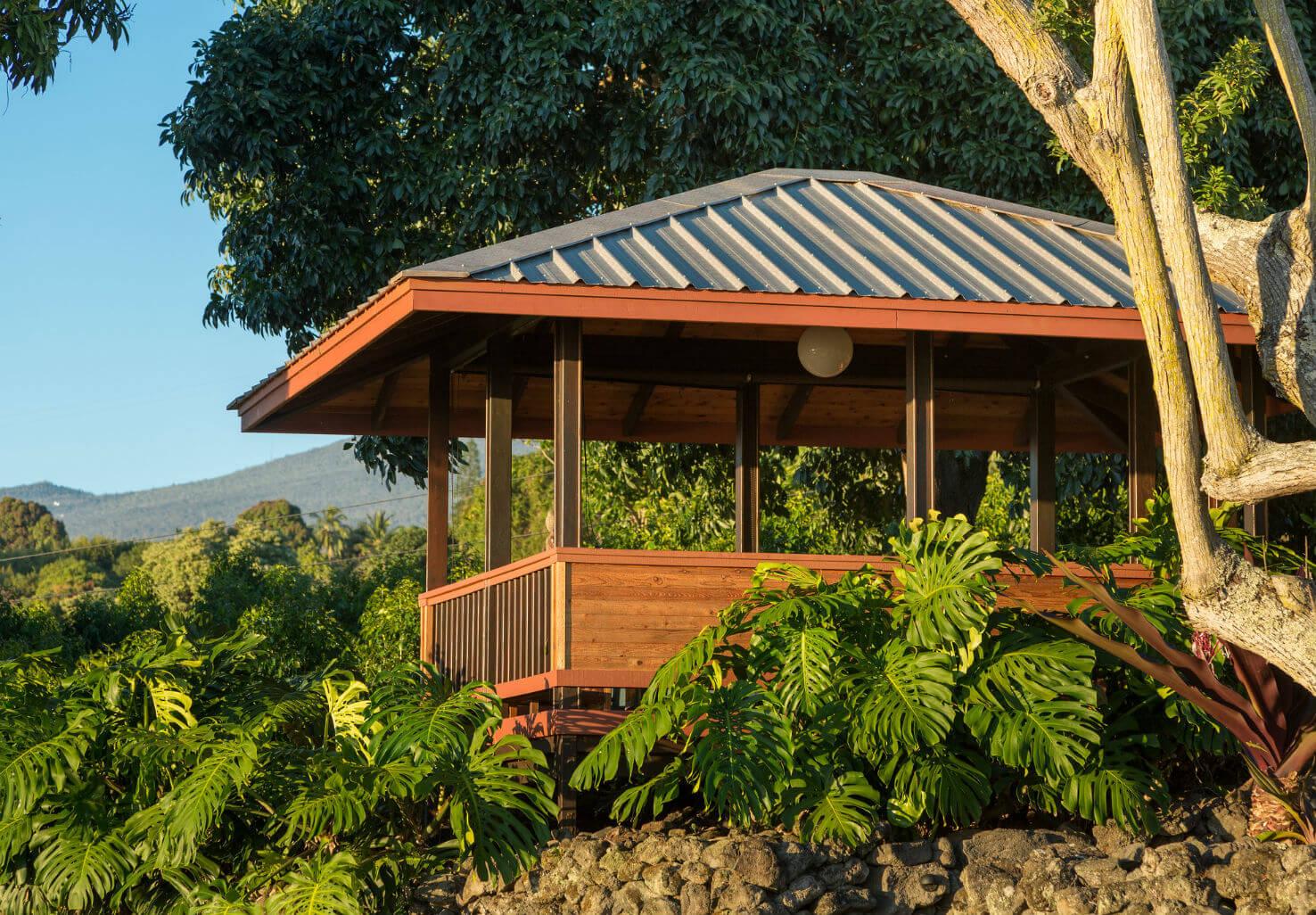 Gazebo in garden at the Holualoa inn on Hawaii's big island