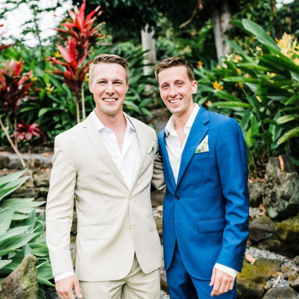 Groomsmen in tropical Buddha Garden