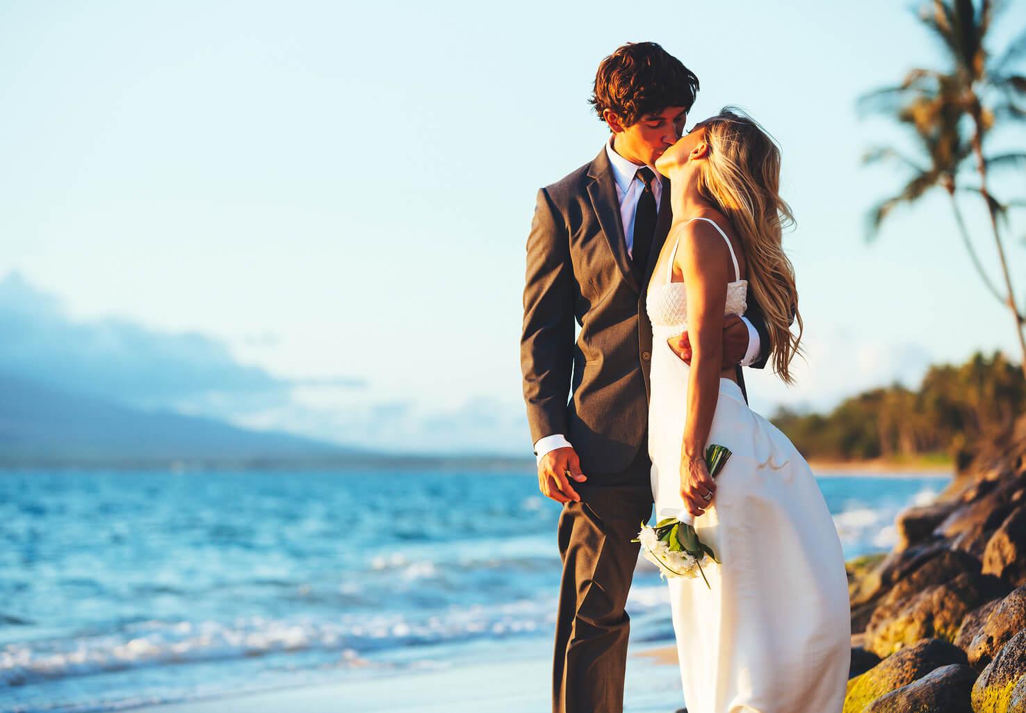 Couple getting married on Big Island Beach