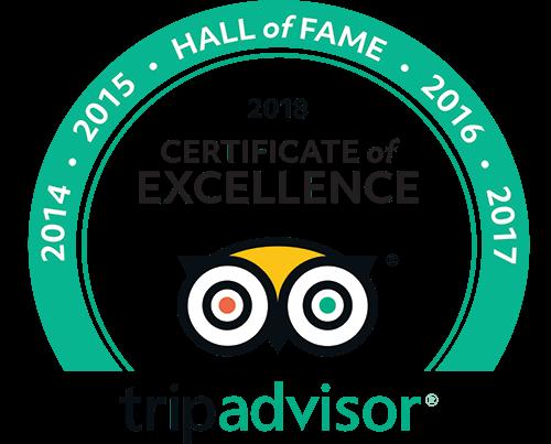 Tripadvisor Certificate of Excellence - 2014, 2015, 2016, 2017, 2018