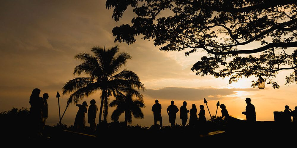Hawaiian Wedding Silhouettes at Sunset
