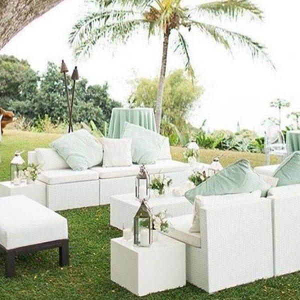 Outdoor couches for Hawaiian wedding reception
