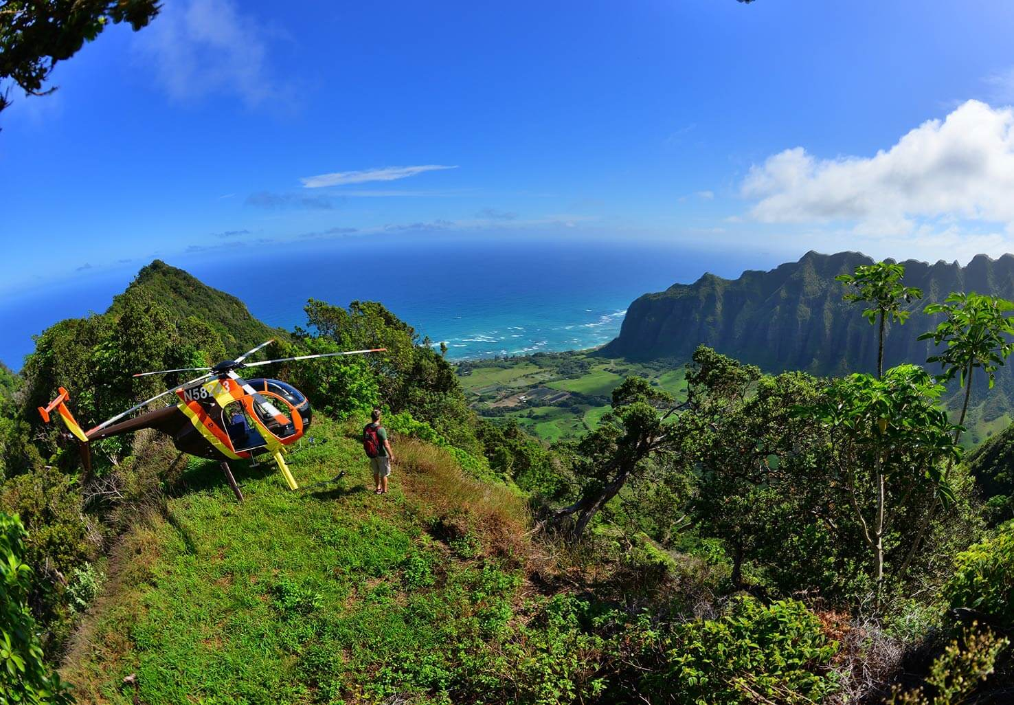 Oahu Ridgetop View with Paradise Helicopter