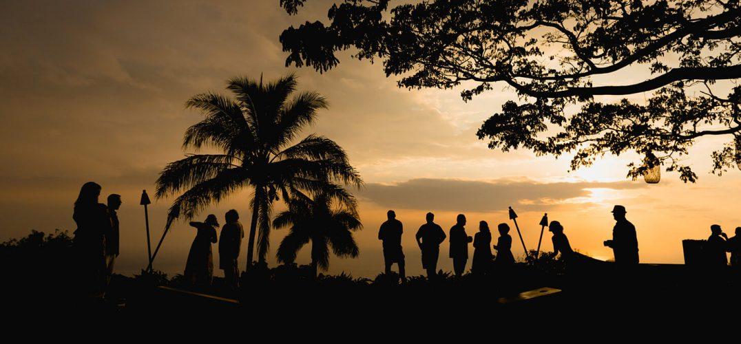 Hawaiian Wedding at Sunset at Big Island Event Venue