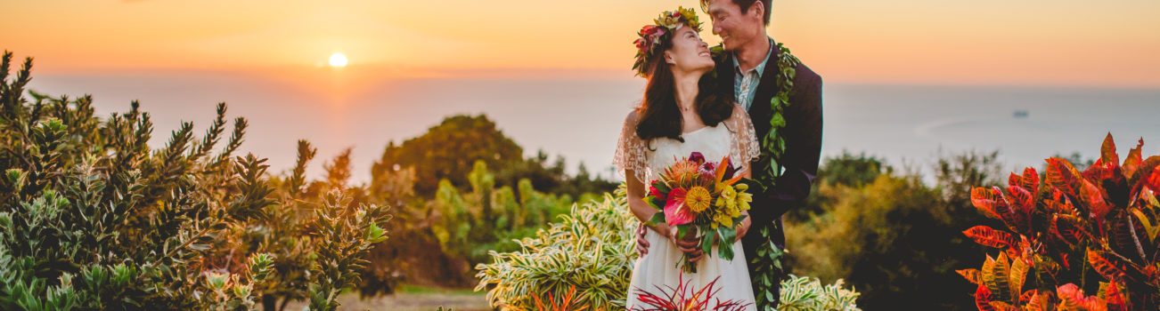 Colorful Sunset Wedding Couple in Hawaii