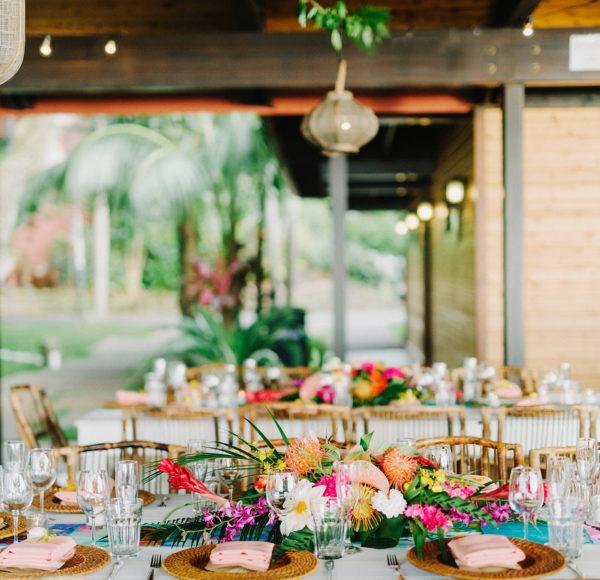 Tropical Table Decor at Hawaii Wedding Venue