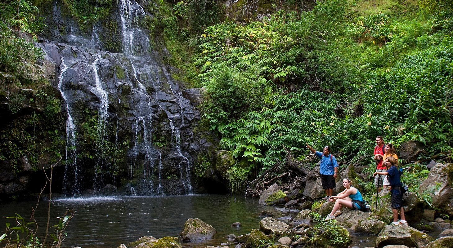 Hikers near a waterfall in Hawaii
