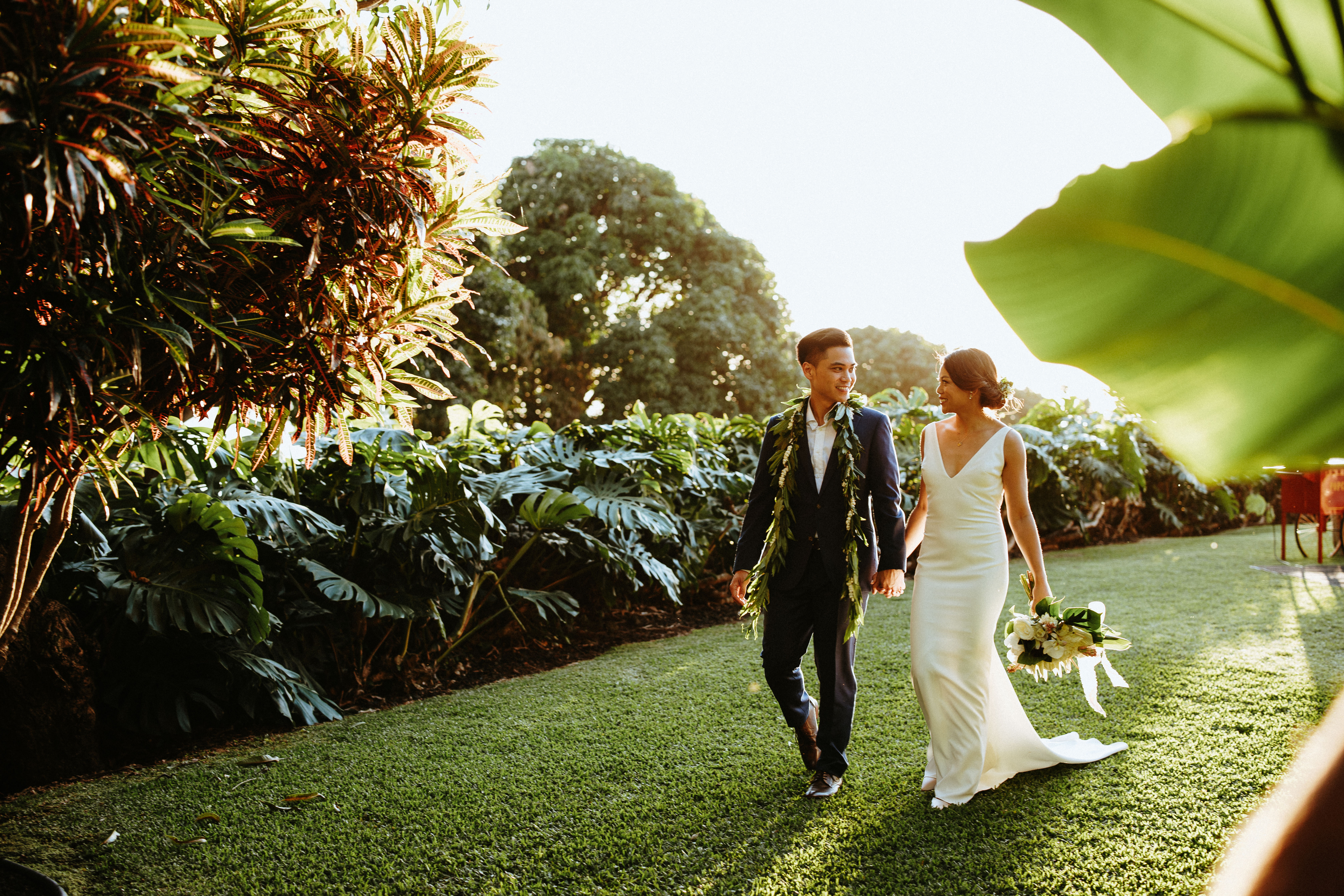 Bride and Groom Embrace Outdoors
