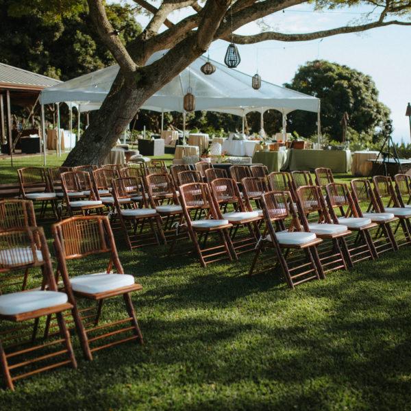Hawaii wedding ceremony venue chairs and lanterns