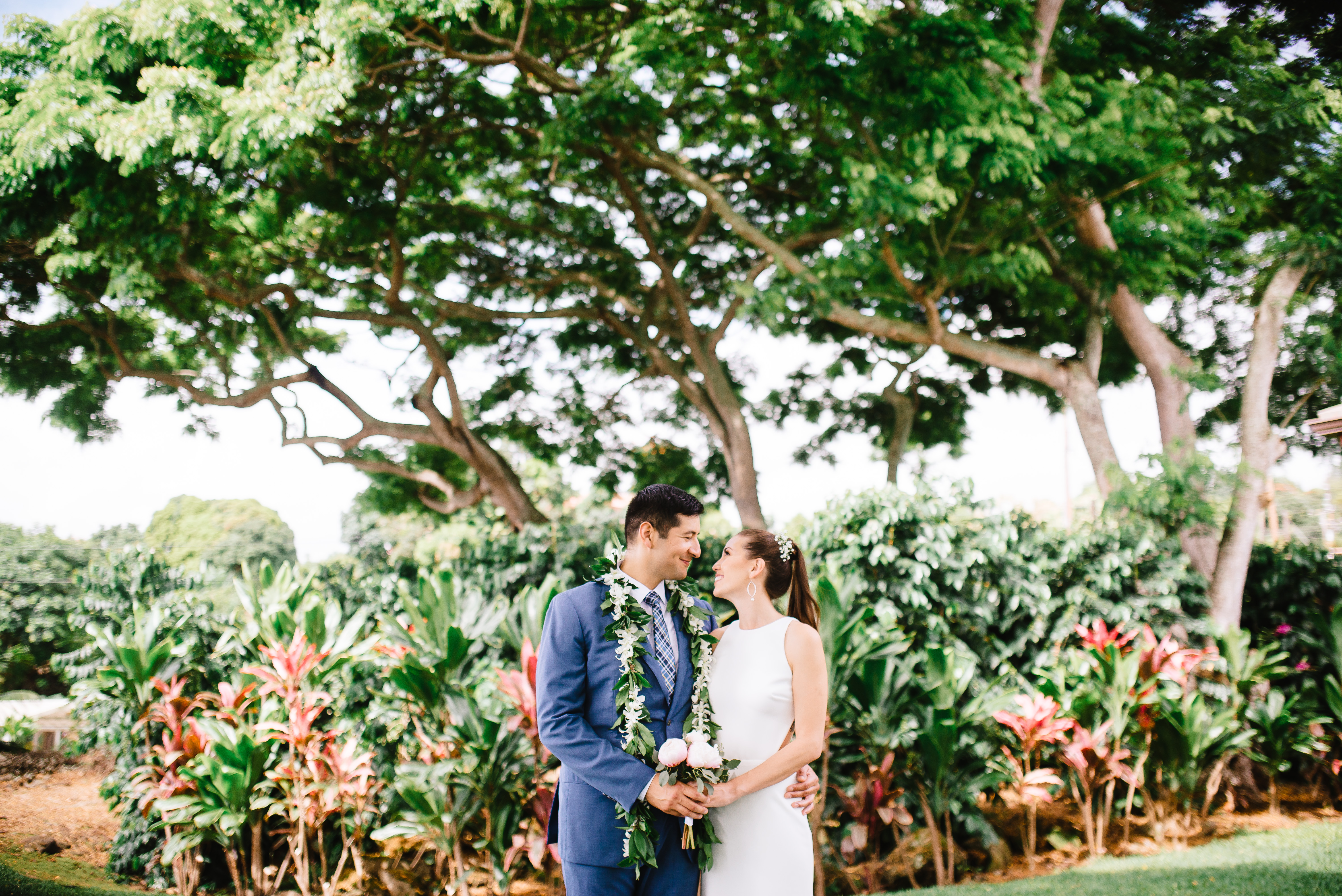 Bride and groom during their intimate wedding in Hawaii
