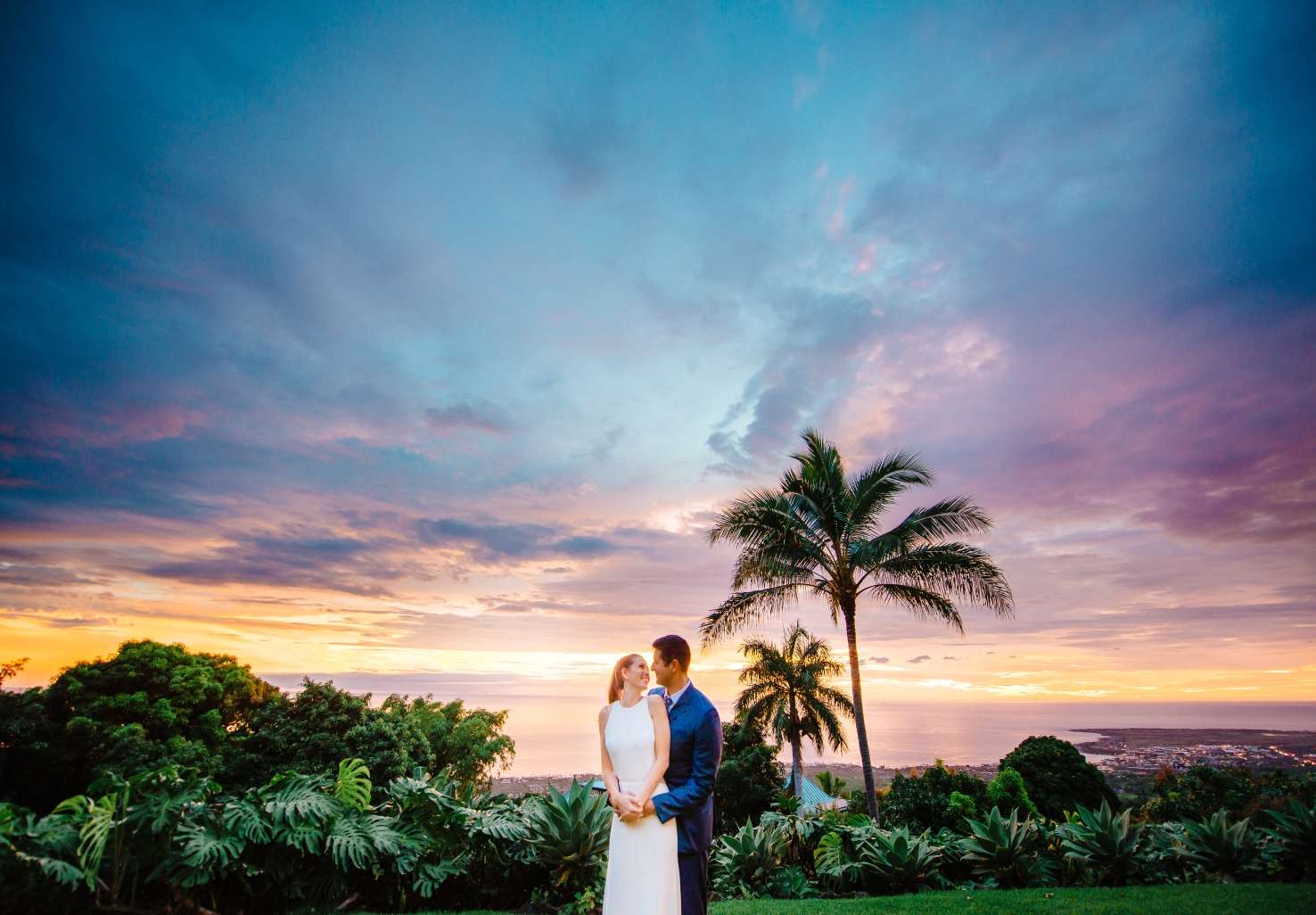 Romantic Tropical Wedding Venue with Couple at Sunset