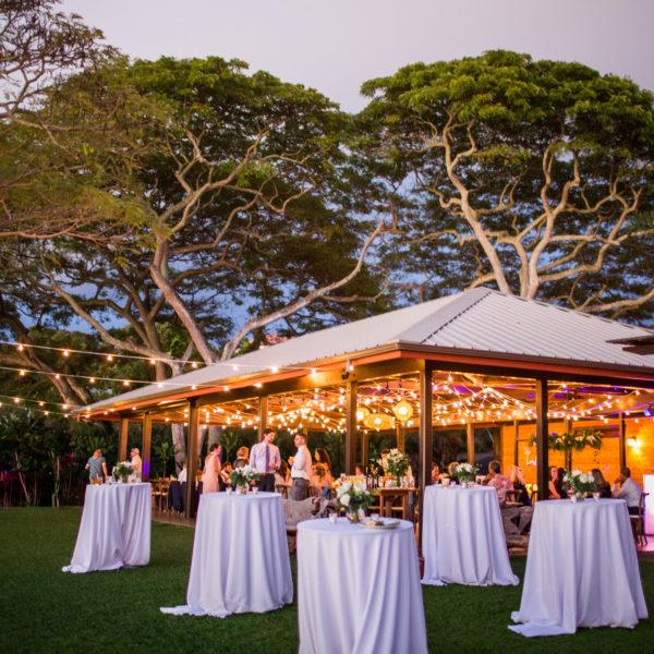 romantic cocktail hour decor and pavilion lighting at Hawaii wedding venue