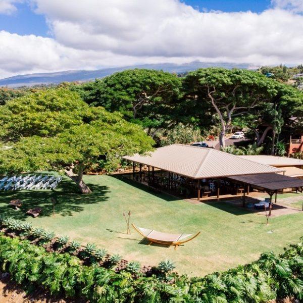 Aerial view of the Great Lawn Big Island wedding venue