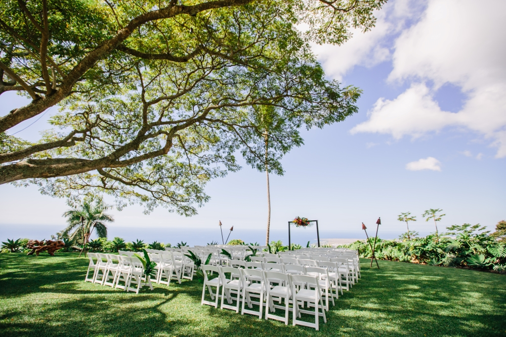 Ceremony set up for a fall big island wedding
