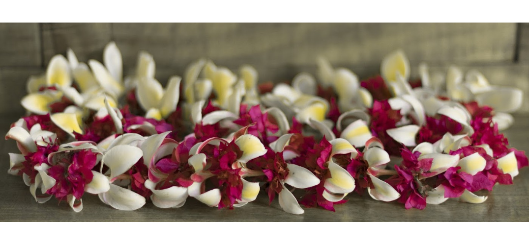 Lei Making in Holualoa Hawaii