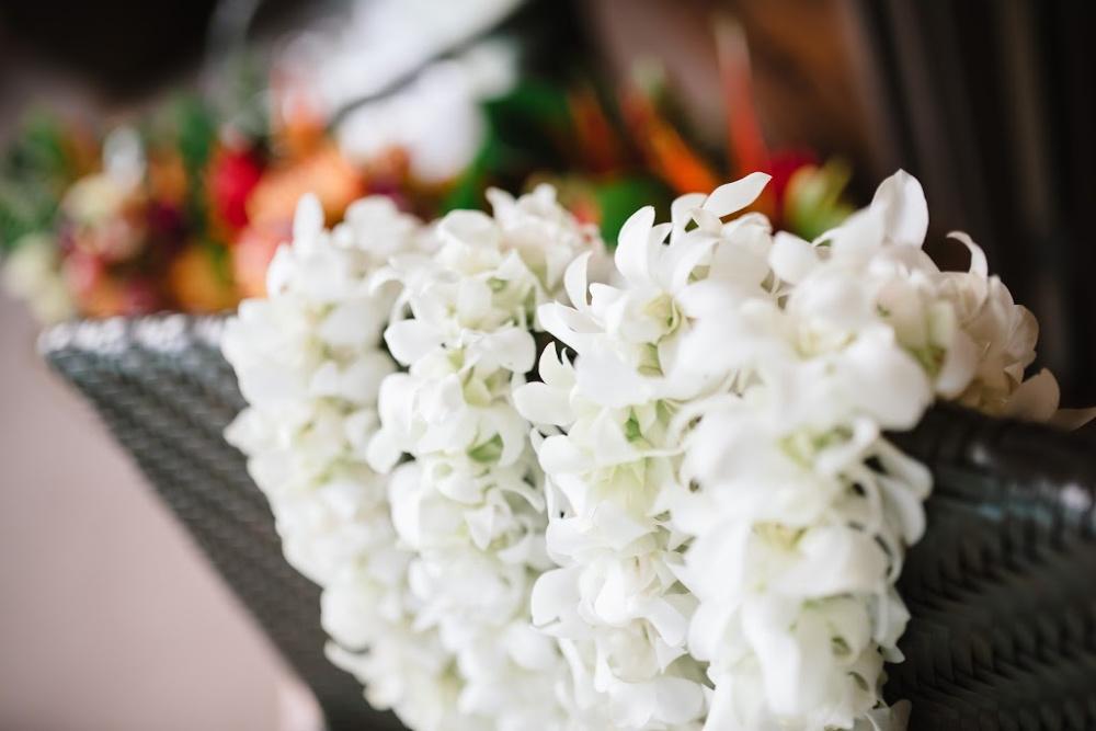 White flower lei in Holualoa, Hawaii