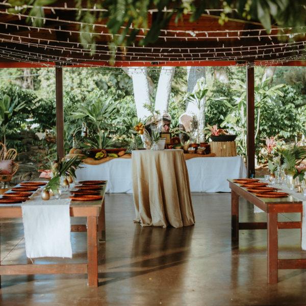 Big Island wedding reception decor in Malulani Pavilion