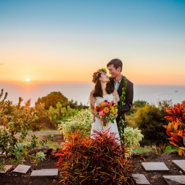 bride and groom in colorful nursery at sunset