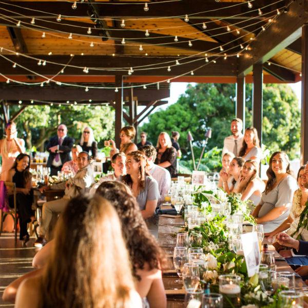 tropical wedding reception decor in Hawaii wedding pavilion