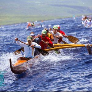 Men paddling during canoe race