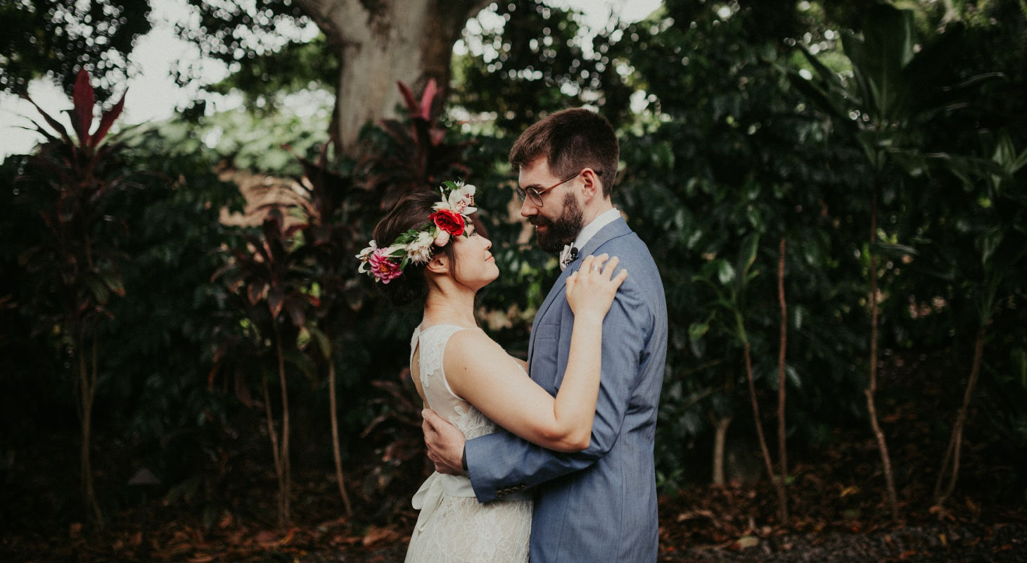 Wedding couple embracing each other at Big Island wedding venue