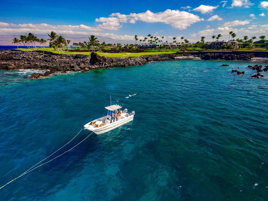 Boat off the coast of the Big Island of Hawaii