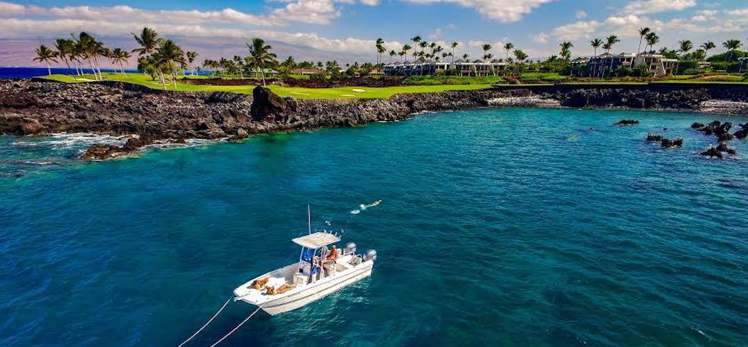 Boat off the coast of the Big Island