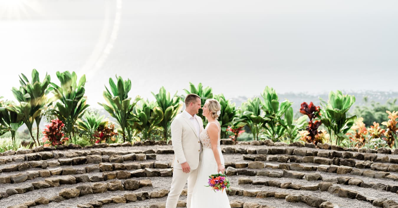 Bride and Groom after intimate wedding in Hawaii